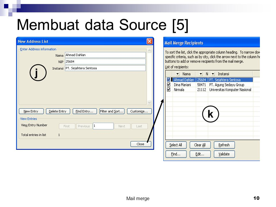 Membuat data Source [5] j k Mail merge